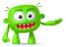 Crazy. Funny green abstract character on white background Royalty Free Stock Photos