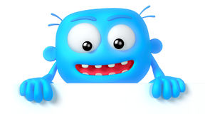 Crazy. Funny blue abstract character on white background Stock Images