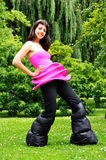 Crazy. Girl in a very crazy outfit Royalty Free Stock Images