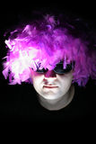 Crazy-2. Crazy feathery man in spectacles stock images
