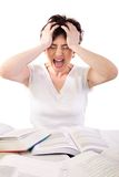 Crazy. Frustrated student went crazy because of studing, could be used for business concept as well stock images