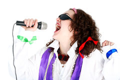 Crazy 70s. Singer isolated on white royalty free stock image