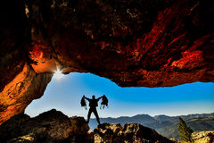 Crazy adventurous and backpacks. Discovery and adventure royalty free stock images