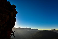 Crazy adventurous. And climber.Discovery and adventure Royalty Free Stock Photo