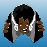 Crazy afro hairstyle DJ Stock Photos