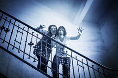 Crazy aggressive friends. Aggressive women shouting, madness and rage Stock Images