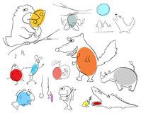 Crazy animals. Vector crazy animals collection on a white background Stock Images