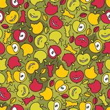 Crazy apple seamless pattern. Royalty Free Stock Images