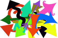 Crazy Arrows. Arrows of different colors, sizes and shaped pointing in all different directions Stock Image