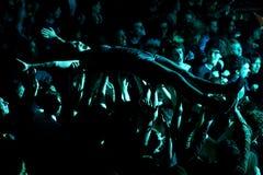Crazy audience in a concert at Heineken Primavera Sound 2014 Festival Royalty Free Stock Photos