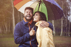 Crazy autumn weather. Autumn rain doesn't have to be boring and sad Stock Photos