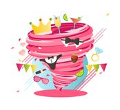 Crazy Bachelorette girls party swirl, mad hen party hurricane. Bride party vector illustration Royalty Free Stock Photos