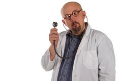 Crazy bald-headed, cross-eyed Doctor. Isolated. Stock Photography