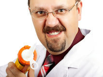 Crazy bald-headed Doctor Stock Photography