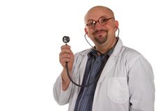 Crazy bald-headed Doctor. Isolated. Stock Photos