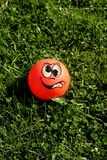 Crazy ball. Fun looking ball on the grass Stock Image