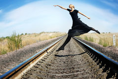 Crazy ballet dancer. Wide-angle photo of the ballet dancer jumping Stock Image