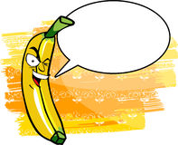 Crazy banana with speech bubble Royalty Free Stock Photo