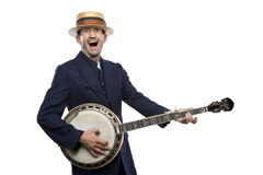 Crazy banjo man Stock Photo