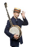 Crazy banjo man Stock Image