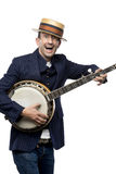 Crazy banjo man Royalty Free Stock Photo