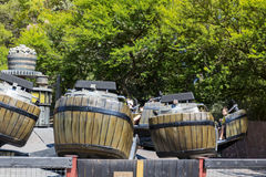 Crazy Barrels in Polynesia area in Port Aventura amusement park in  Spain Stock Photos