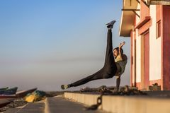Crazy Dancer doing power move royalty free stock photography