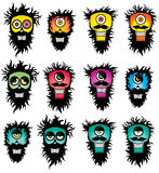 Crazy beard mustache silhouettes Royalty Free Stock Photography