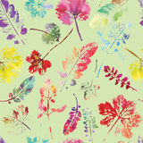 Crazy beautiful watercolor pattern of leaves. handmade painted. Stock Images
