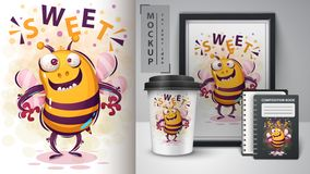 Crazy bee - mockup for your idea. Vector eps 10 stock illustration