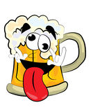 Crazy beer cartoon Royalty Free Stock Images