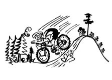 Crazy biker. Cyclist biciclist wheelman cycler Stock Photo