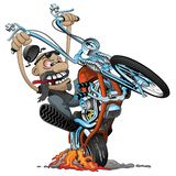 Crazy biker on an old school chopper motorcycle cartoon vector illustration. Awesome motorcycle rider, on a classic looking chopper with a springer style front stock illustration