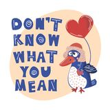 CRAZY BIRD Valentine Day Cartoon Animal Set royalty free illustration