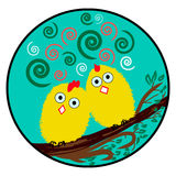 Crazy birds on a branch (yellow Chicks) Stock Images