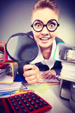 Crazy bizarre businesswoman with big loupe. Stock Photography