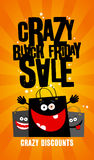 Crazy black friday sale design with bags. Stock Image