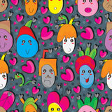 Crazy Black Heart Family Seamless Pattern Stock Photos