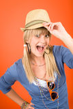 Crazy blond girl wear hat shouting Stock Image