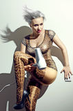 The crazy blond woman in leopard pants with hairdryer Stock Photos