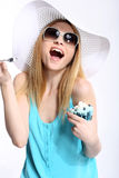 Crazy blonde girl Stock Photos