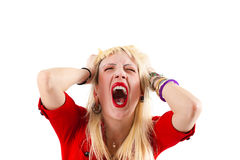 Crazy blonde girl shouting Stock Photos
