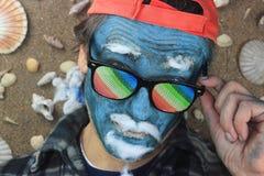 Crazy blue man Stock Image