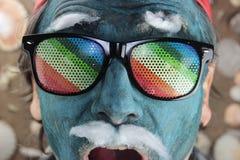 Crazy blue man Stock Photos