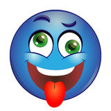 Crazy blue Smiley showing tongue on a white background Stock Photography