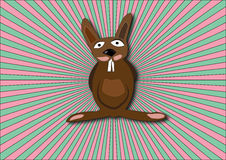 Crazy bunny. With colored background stock illustration