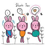 Crazy bunny cute. Illustration thank you, crazy rabbit cute white background hand drawing graphic template graphic Royalty Free Stock Images