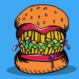 Crazy Burger Monster Doodle Stock Images