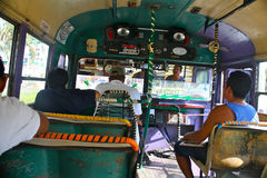 Crazy busdriver, Acapulco, Mexico. Acapulco is a town with heavy traffic. Bus drivers in old decrepit busses are doing a hard job, and many of them are Royalty Free Stock Image
