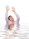Crazy business man in rendered water Royalty Free Stock Photos